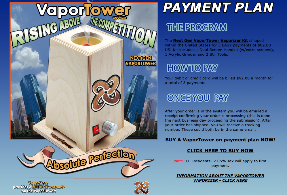 VaporTower Payment Plan